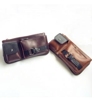 4) Men Classic High Quality PU Leather Sling Bag