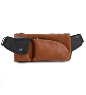 2) Men Classic High Quality PU Leather Sling Bag