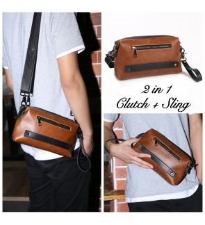 12) 8007 2in1 Man Classic PU Leather Clutch Sling Bag Bag Tangan